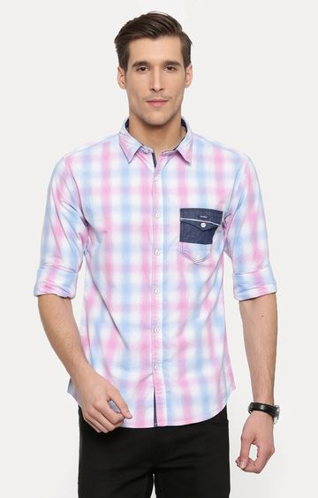With | Pink and Blue Checked Casual Shirt