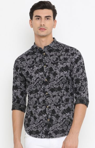 With | Black Printed Casual Shirt
