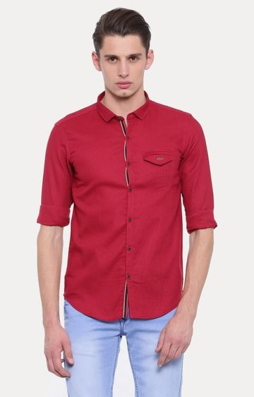 With   Red Striped Casual Shirt