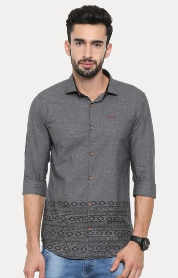 With | Grey Melange Casual Shirt