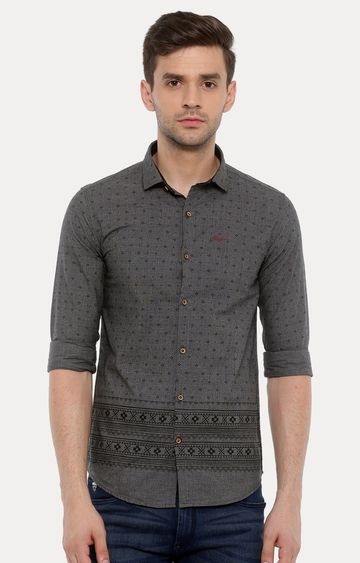With | Grey Printed Casual Shirt