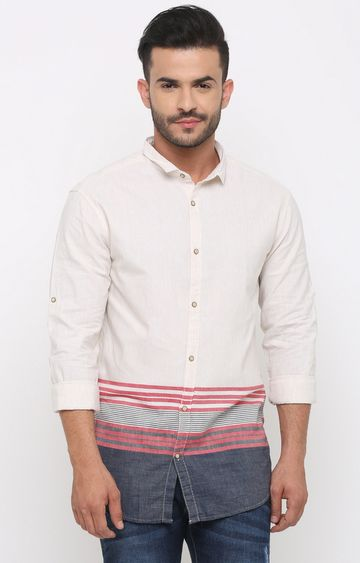 With | Off White Striped Casual Shirt