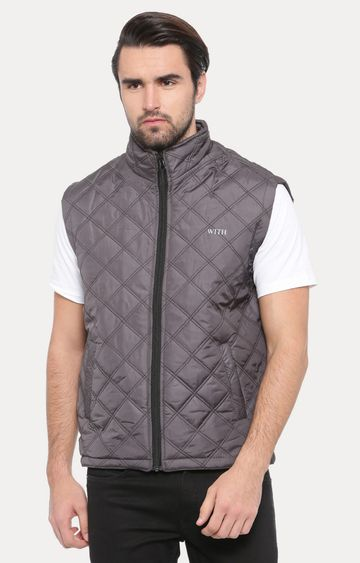 With | Grey Solid Gilet