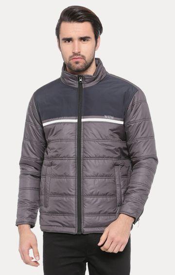 With | Grey Colourblock Bomber Jacket