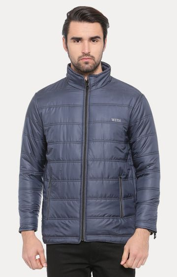 With | Dark Blue Solid Bomber Jacket
