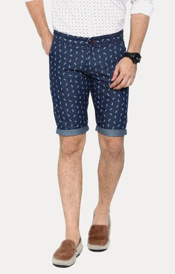 With | Navy Blue Printed Shorts