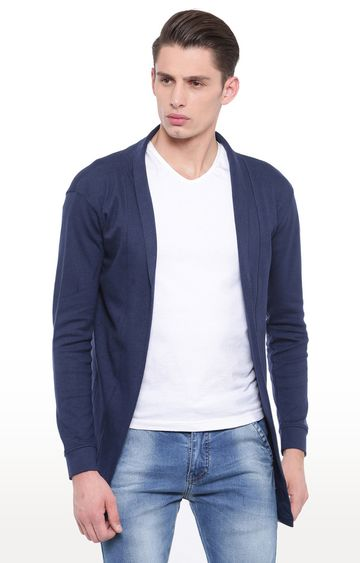 With | Navy Blue Solid Cardigan