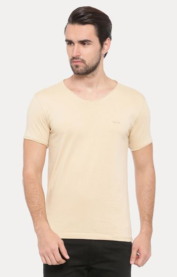 With | Beige Solid T-Shirt