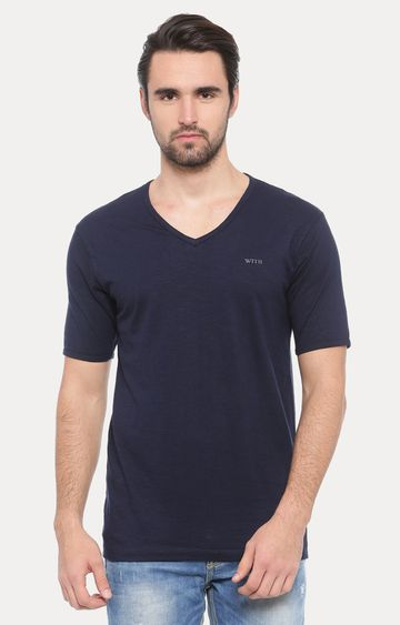 With | Dark Blue Solid T-Shirt