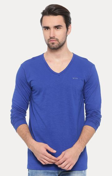 With | Royal Blue Solid T-Shirt