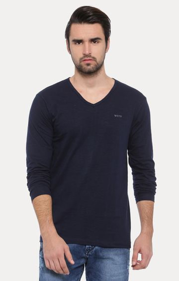 With | Navy Blue Solid T-Shirt