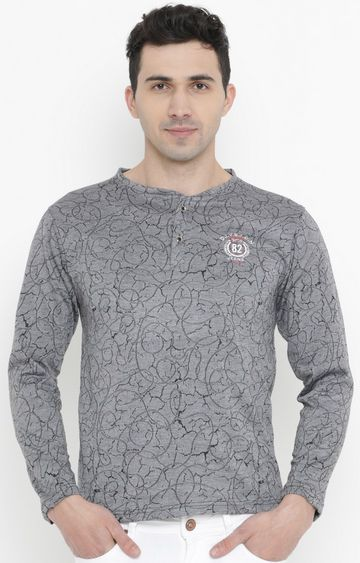 With | Grey Printed T-Shirt