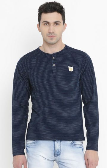 With | Blue Striped T-Shirt