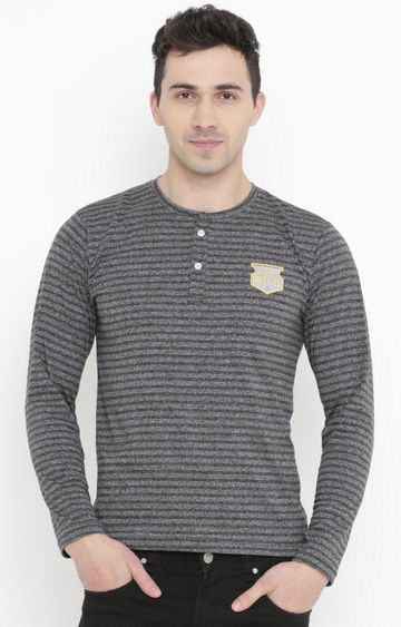 With | Grey Striped T-Shirt