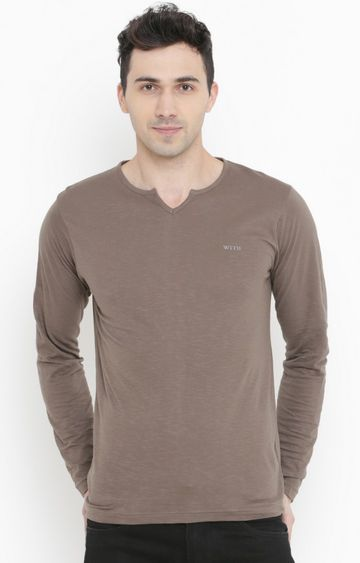 With | Light Brown Solid T-Shirt