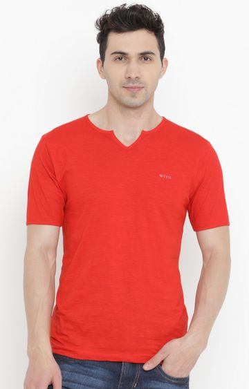 With | Red Solid T-Shirt