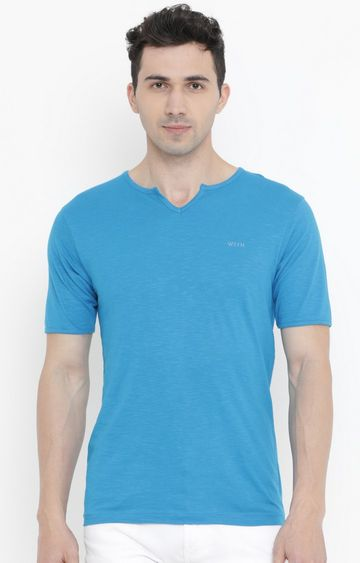 With | Light Blue Solid T-Shirt