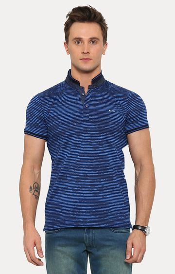 With   Blue Printed T-Shirt