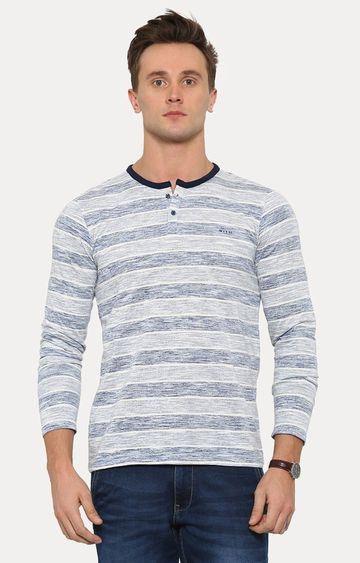 With | Navy Blue Striped T-Shirt