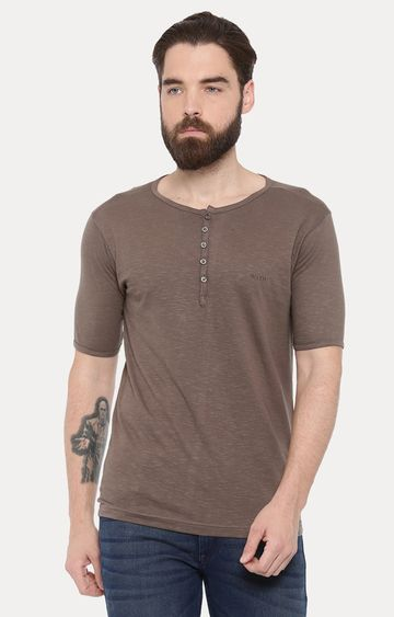 With | Khaki Solid T-Shirt