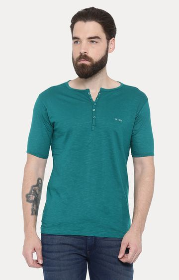 With | Green Solid T-Shirt