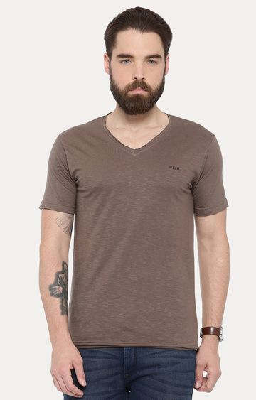 With | Brown Solid T-Shirt