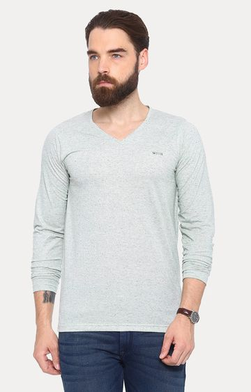 With | Grey Solid T-Shirt