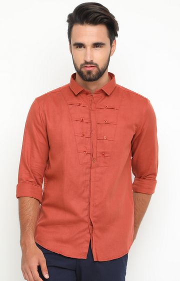 With | Rust Solid Casual Shirt