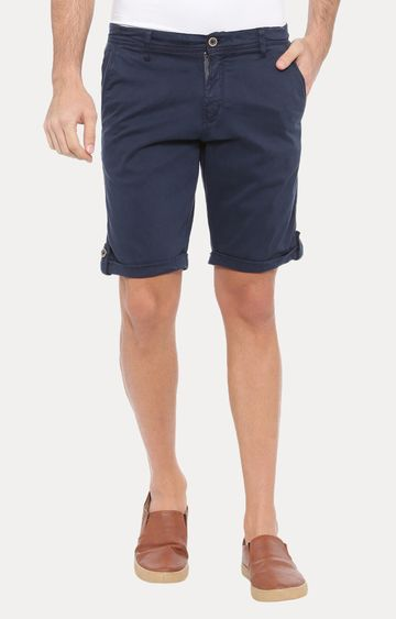 With | Dark Blue Solid Shorts