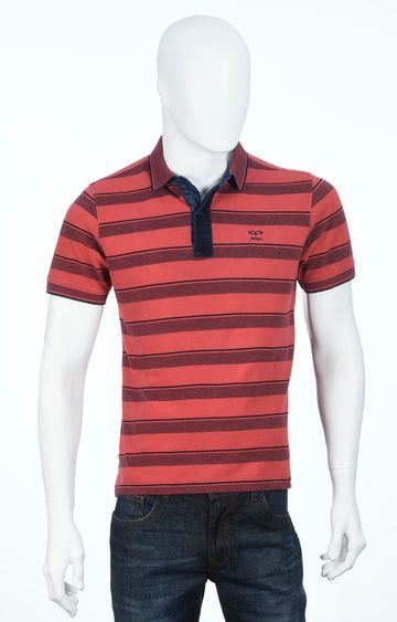 ColorPlus   Maroon and Coral Striped Polo T-Shirt