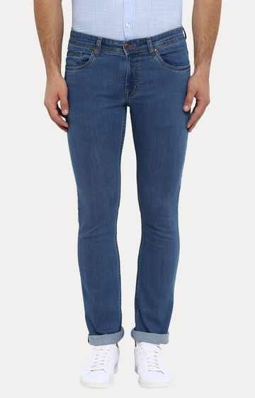 ColorPlus | Blue Solid Tapered Jeans