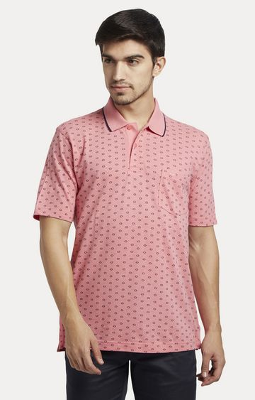 ColorPlus   Pink Printed Polo T-Shirt
