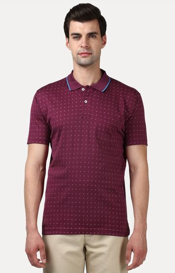 ColorPlus | Plum Printed Polo T-Shirt