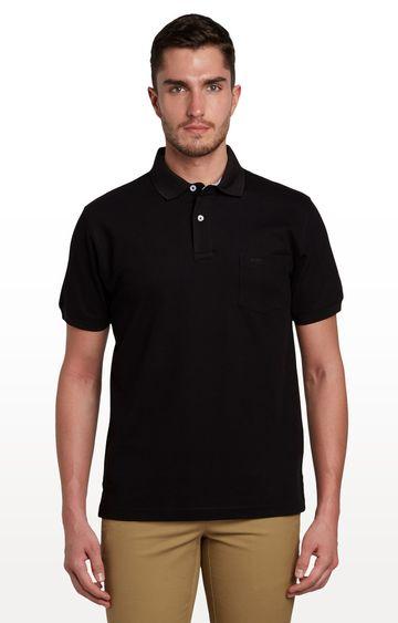 ColorPlus   Black Solid Polo T-Shirt
