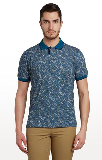 ColorPlus   Dark Blue Printed Polo T-Shirt