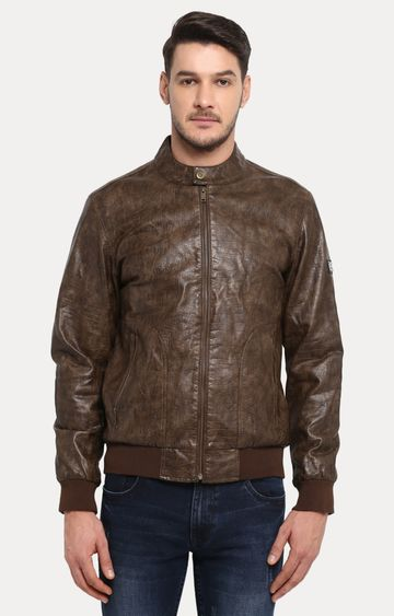 ColorPlus   Brown Solid Leather Jacket