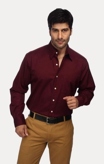 ColorPlus | Maroon Solid Formal Shirt
