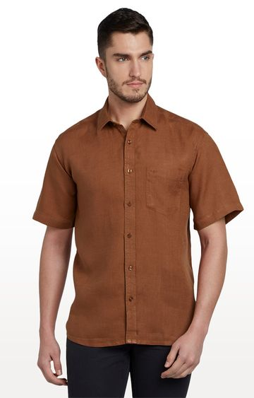 ColorPlus | Brown Solid Classic Fit Casual Shirt