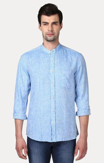 ColorPlus | Blue Melange Casual Shirt