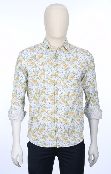 ColorPlus | White and Yellow Floral Casual Shirt