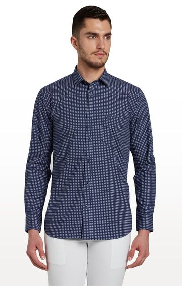 ColorPlus   Navy Checked Formal Shirt