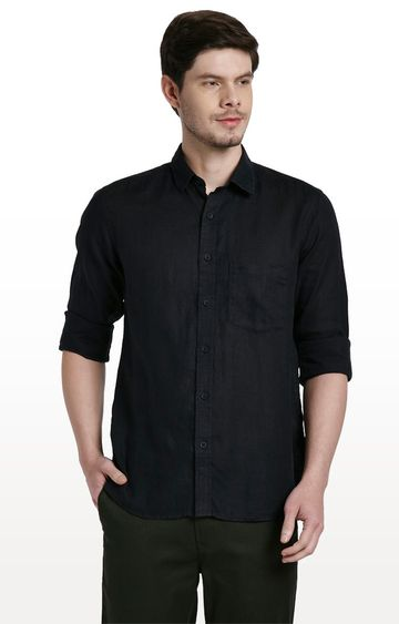ColorPlus | Black Solid Tailored Fit Casual Shirt