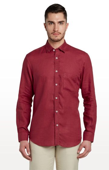 ColorPlus | Maroon Solid Casual Shirt