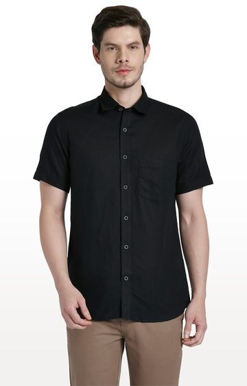 ColorPlus   Black Solid Tailored Fit Casual Shirt