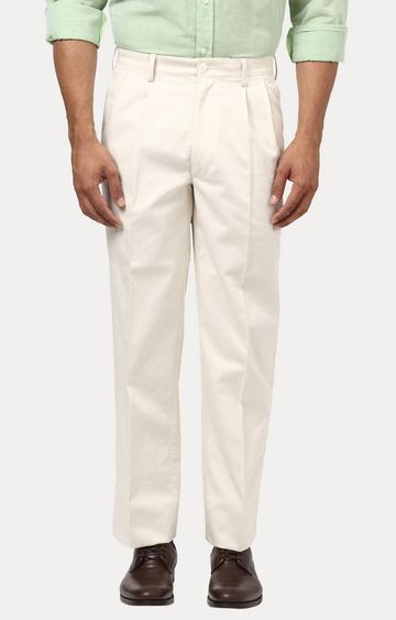 ColorPlus | White Solid Pleated Formal Trousers