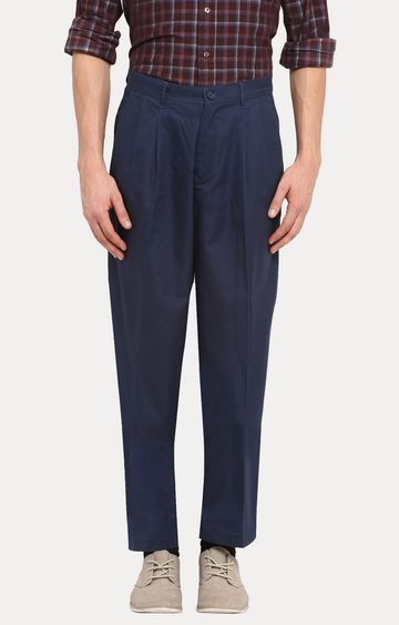 ColorPlus | Dark Blue Solid Pleated Formal Trousers