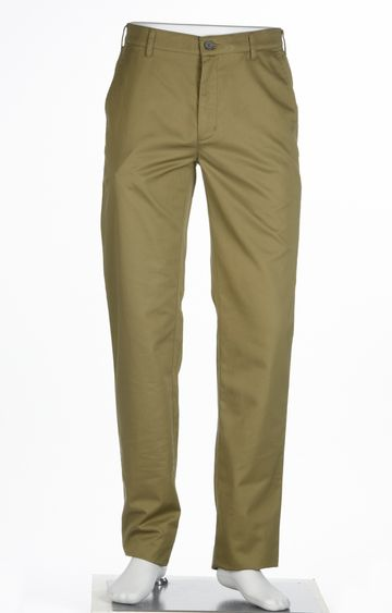 ColorPlus | Green Solid Flat Front Formal Trousers
