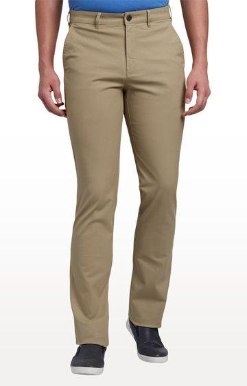 ColorPlus | Beige Tailored Fit Flat Front Formal Trousers
