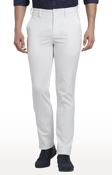 ColorPlus | White Flat Front Formal Trousers