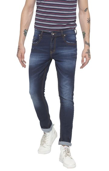 globus | Blue Solid Slim Fit Jeans